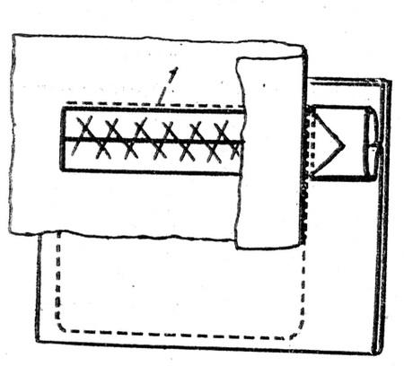Обработка прорезного кармана в