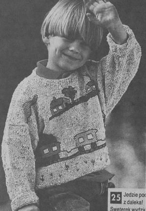 Детский свитер с паровозом